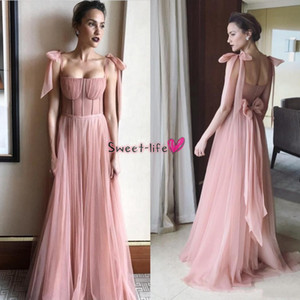 2019 Pink Evening Gowns Spaghetti Backless Exposed Boning Prom Dress A Line Floor Length Celebrity Custom Made With Bowtie Party Gowns on Sale