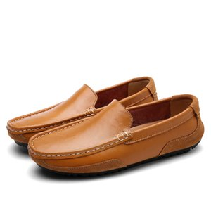 men's casual loafers driving shoes genuine leather top quality soft flat slip on cowhide for daily vacation