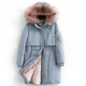 Wholesale Down coat women winter thick warm white duck down jacket female real raccoon fur trim hood fashion design NPI C