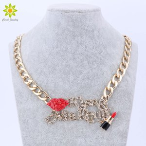 Wholesale gold chain necklace Red Sexy Lip And Enameled Lipstick Kiss Make Up Women Gold Chain Necklace