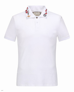 Wholesale Men s Luxury T shirt Spring Cotton Brand T shirt Snake Bee Printed POLO Shirt Black And White Asian Size M XL