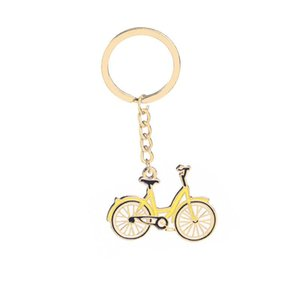 Wholesale YELLOW COLOR MOBILE BIKE BICYCLE KEYCHAIN KEYRING KEY CHAIN RING Men Keychain Purse Bag Decor Pendant
