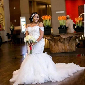 Wholesale African Plus Size Wedding Dresses Spaghetti Straps Lace Appliques Beadding Capped Mermaid Wedding Dress Tiered Tulle Long Bridal Gowns