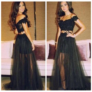 Wholesale Two Piece Black Lace Prom Dresses Long 2017 Off Shoulder Appliques A Line Tulle Vestidos De Festa Party Evening Gowns
