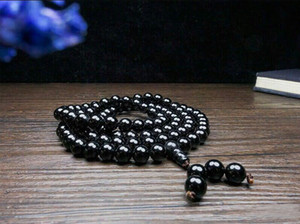 8mm Natural black agate beads necklace with free shipping V4 on Sale