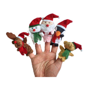 Wholesale Christmas Finger Puppets Plush Toys cartoon Santa Claus Snowman Hand Puppet Cute Xmas deer Stuffed Animals good quality