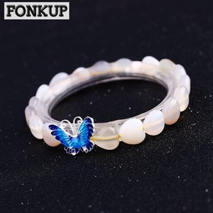 Wholesale Forkup Moonstone Bracelets White Crystal Pulseira Ethnic Women Wedding Jewelry Transparent Accessories Silver Butterfly Rope