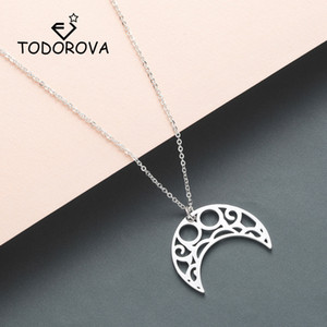 Wholesale Todorova Infinity Horn Charm Necklaces Pendants Curved Crescent Moon Necklace Women Stainless Steel Jewelry Gift Male