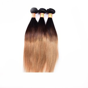 Dark Root Honey Blonde Black Ombre Human Hair Remy Weave Bundles With Lace Closure Brazilian Two Tone Virgin Straight Hair Extensions Weft