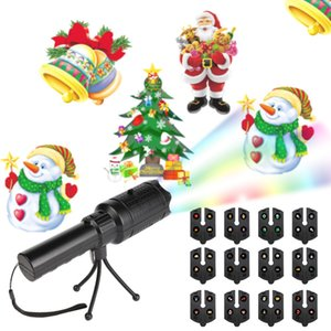 Wholesale LED Flashlight Card Light Film Projection Lamp LED Patterns Projector Moving Snowflake Spot Light Christmas New Year Stage Party Light