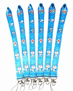 Wholesale Cartoon Doraemon Cell Mobile Phone key Lanyard id badge holder keychain straps for mobile phone E Cigarette Work ID Card