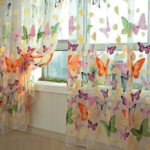 Wholesale Window Curtains Luxury Home Decor Romantic Butterfly Thin Shading Yarn Tulle Customize Modern Living Decoration Sheer Curtains Screening