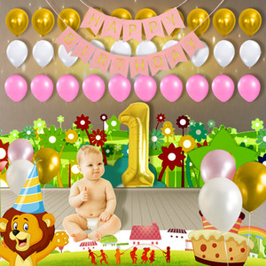 1st Happy Birthday Background Decoration Golden 1 Digital Balloon Pink And Gold And White Balloons Pink
