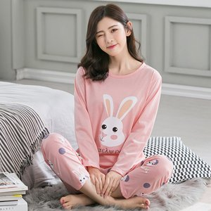 Wholesale 2018 Women Pajamas Sets Autumn Winter Pyjamas Women Pijamas Cotton Cartoon Cow Girls Pajamas Sets Print Femme Long Sleeve Sleepw