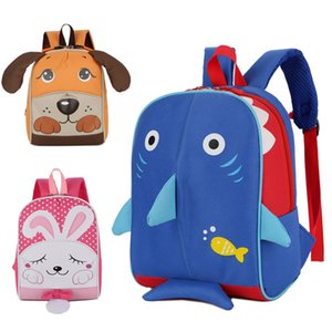 Wholesale Fashional cartoon Animal bag D printing navy Shark School Bag children pink Rabbit Backpacks kid s lovely Puppy canvas Shoulders bag H156