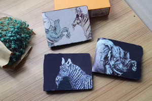 Wholesale New famous brand Genuine Leather Short Coin wallets M62607 M60895 Men Women Luxury Animal printing card holders purse bag LQ With Box
