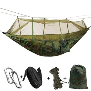 Wholesale 12 Colors cm Portable Hammock With Mosquito Net Single person Hammock Hanging Bed Folded Into The Pouch For Travel
