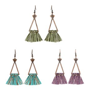 Wholesale Vintage Retro Geometric Triangle Tassel Drop Earrings Women Ladies Fashion Jewelry Summer Bohemian Charm Ethnic Earring D926S