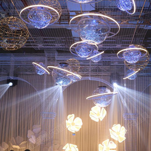 Wholesale space flash resale online - New Arrival Shine LED Flash Star Ball Wedding Showcase Decoration Space Planet Hanging Ornament Chandelier