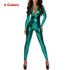 Wholesale Women Shiny Catsuit Vinyl Fish Scale Bodysuit Faux Leather Clubwear Zipper PVC Jumpsuit Sexy Lingerie Game Leather Costume S927