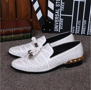 Wholesale 2017 New style Fashion Casual Golden steel toed Shoes Mens white rivet Tassel Wedding Shoes Gold Metallic Mens Studded Loafers M485
