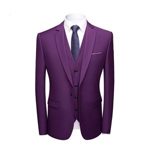 ingrosso abito viola scuro per il matrimonio-Dentellato Collar Men Suits viola scuro One Button Dinner Party Tre Pezzi Jacket Vest Pants Trim Fit Wedding smoking