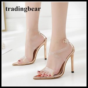 Wholesale 11cm Champagne transparent strappy PVC pointed toe high heel sandals ladies prom party shoes size to