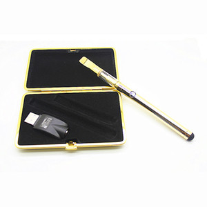 Wholesale gold e cig atomizer for sale - Group buy Ceramic coil glass cartridges vape pen Gold color e cig starter kit Thick oil disposable atomizer with USB charger mah battery