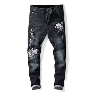 Wholesale Fashion Men s Flower Embroidered Jeans Pants Black Scratched Denim Trousers With Floral Embroidery Jean Joggers