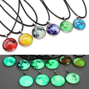 Wholesale Hot Sale Glow In The Dark Nebula Leather Necklace Galaxy Astronomy Pendant Space Universe Necklace Milky Way Jewellery Fit Lover Gift