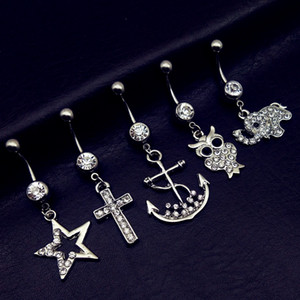 Wholesale 5pcs new arrivals clear crystal cross star owl anchor Elephant dangling navel belly bar button rings body piercing jewelry