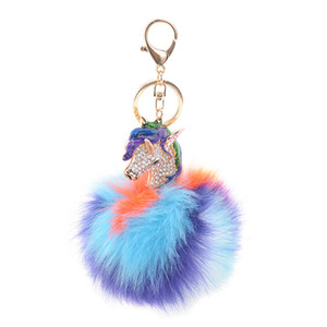 Wholesale Unicorn Pompom Keychain Colorful Fake Rabbit Fur Ball Fluffy Key Chain Horse Bag Car Keyring Bag Accessories
