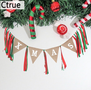 Wholesale 1set XMAS Banner burlap Hessian Bunting Flag with ribbon DIY party christmas Decoration new year Christmas tree decoration