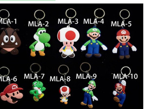 Wholesale Super mario Anime PVC Keychain Cartoon comics key ring pendant Small hang tags Handbag Decorations Giftware