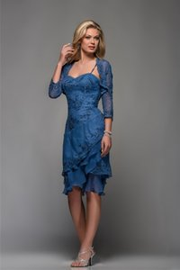 Wholesale Royal Blue Mother Of The Bride Dresses Long Tiered Groom Tea Length Mother Dress For Weddings Outfits