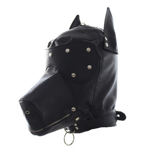 Wholesale Faux Leather Fetish Dog Mask Sexy Realistic Head Bondage Hood Black Animal Dog Sex Mask Adult Games Halloween Sexy Costumes Y1892609