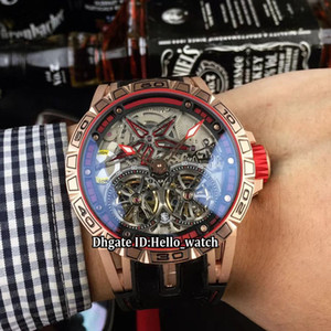 gummiring großhandel-Marke Excalibur Double Tourbillon Silber Dial Red Ring Skeleton DBEX0657 Automatik Herrenuhr Rose Gold Case Rubber Strap Herrenuhren