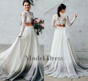 Wholesale Ivory Two Piece Wedding Dresses with Long Sleeves A Line Chiffon Lace See Through Bohemian Bridal Dresses Beach Style Spring Summer
