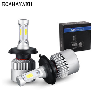ECAHAYAKU 1 Pair S2 Auto Car H4 H11 H7 H13 9004 9005 9006 LED Headlights 72W 6500K 8000LM COB Auto Led Headlamp 12v 24v