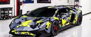 Black Yellow Gray urban night Camo Vinyl Car Wrap Film With air bubble Free Arctic Camouflage Graphics Car Sticker 1.52x10m 20m 30m Roll