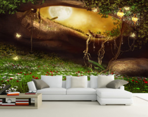 ingrosso foresta della carta da parati murale-3D Wallpaper Personalizzato d Wallpaper murale Fairy Land Forest Wonderland Europeo Extension Personality Carta da parati Pittura murale