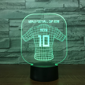 World Cup Jersey Messi 3D Illusion light Lamp 5th Battery Bin USB Powered 7 RGB Light DC 5V Wholesale Free Shipping