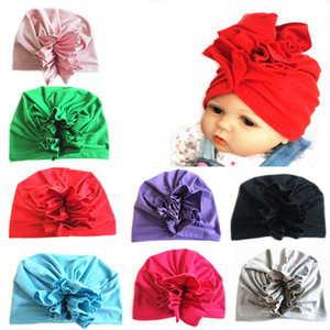 Wholesale HOT Girls Baby Turban solid floral Toddler Head Wrap India style Infant children hat cap Toddler Headbands