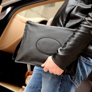Wholesale 2018 New Design Large Capacity Men s Clutch Bag Black Leather Wallet Long Business Casual Totes Men Purse Brand Wristlet Handbag