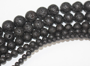 Black Lava Beads Natural Stone Volcanic Rock Round Loose Beads DIY Jewelry Bracelet Making Volcano Stone Bead
