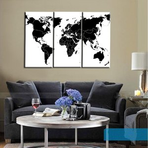 Wholesale map world poster for sale - Group buy Print Poster canvas painting Black and White World Map pictures for living room wall art cuadros decorative