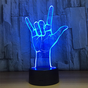 Wholesale 7 Colors Light Home Decoration Lamp Amazing Visualization Optical Illusion gesture pattern D LED Night Light