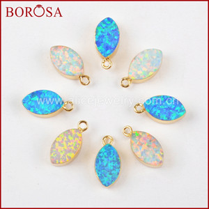 BOROSA 10PCS Wholesale Marquise Japanese Opal Charms, Charm Gems for Earrings Necklace Making G1467