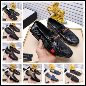 Wholesale Top luxury new mens designer dress shoes Genuine leather Metal snap Peas wedding Shoes classic fashion Men s shoes big size loafers