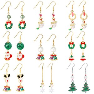 Wholesale Enamel Merry Christmas Earrings Christmas Tree Santa Claus Snowman Reindeer Bell Dangel Earrings for Women Gift Will and Sandy Drop Shipping